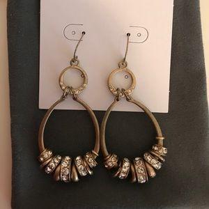 Gold and CZ loop Earrings